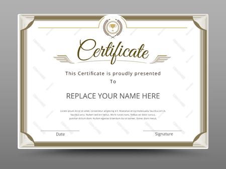diploma: Certificado, Diploma de finalizaci�n, Certificado de Logro plantilla de dise�o. Ilustraci�n vectorial