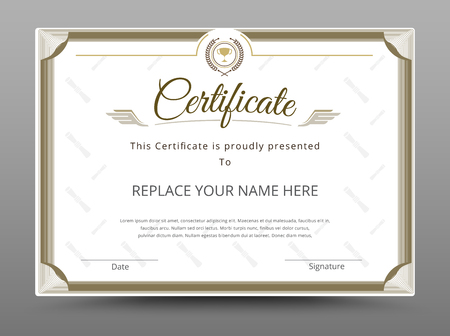 Certificate, Diploma of completion, Certificate of Achievement design template. Vector illustration Illustration