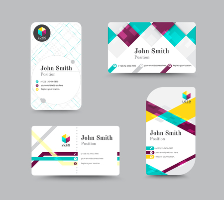 greeting people: Business greeting card template design. introduce card include sample text position. vector illustration design.