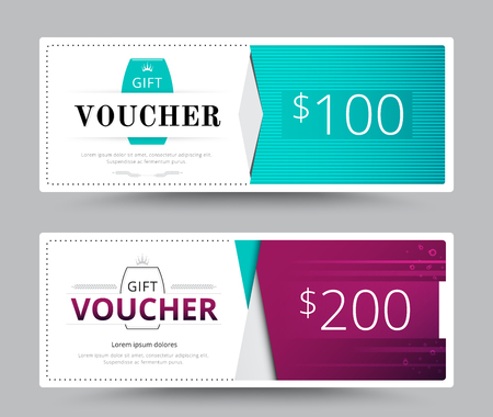 blank check: Gift voucher card template design. for special time, Best of customer, Thank giving, and other sale. vector illustration.