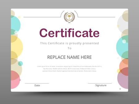 grado: Certificado, Diploma de finalización, Certificado de Logro plantilla de diseño. Ilustración vectorial