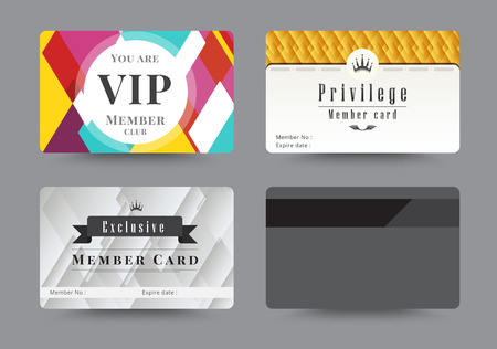 Business VIP Member Cards Design Template. Vector Illustration ...