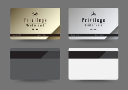 privilege: Gold and silver privilege card for member template design. vector illustration.