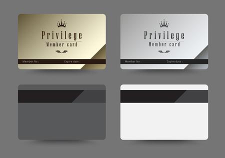 Goud en zilver privilegekaart voor lid template design. vector illustratie.