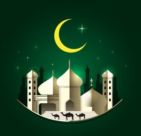 pilgrimage: Eid Mubarak on green background. vector illustration.