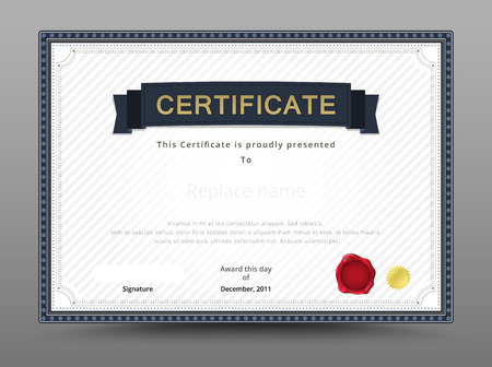 formal: Elegant certificate template. Business certificate formal theme. vector illustration.