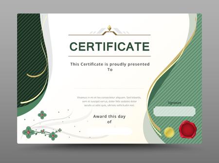 Groen certificaat sjabloon met gouden lint decoreren. vector illustratie