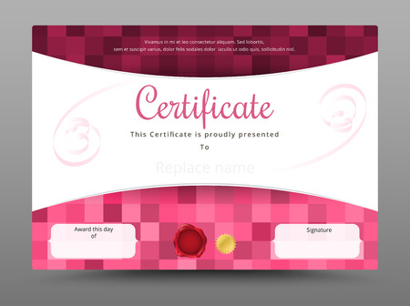 credentials: Beauty and sweet certificate template. vector illustration
