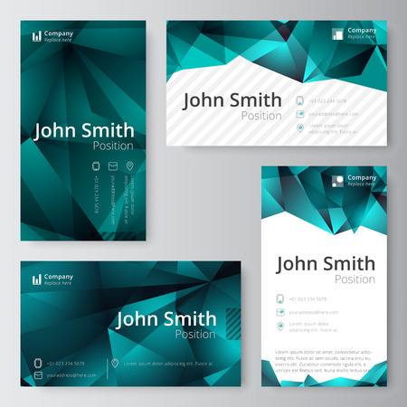 folio: Business card template. abstract, low polygon style. vector stock. Illustration