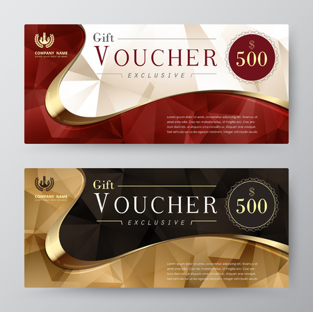 voucher: Luxury gift voucher template. promotion card, Coupon design. vector stock. Illustration