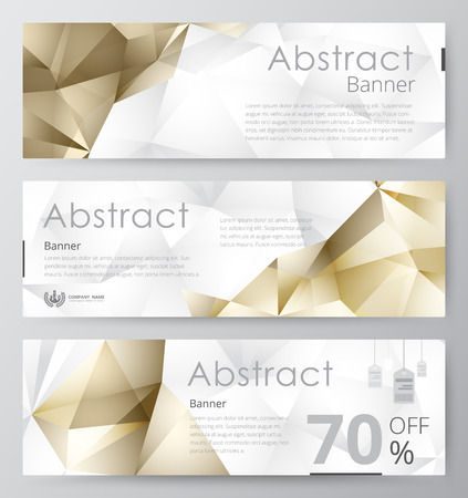 Set of modern vector banners with polygonal background