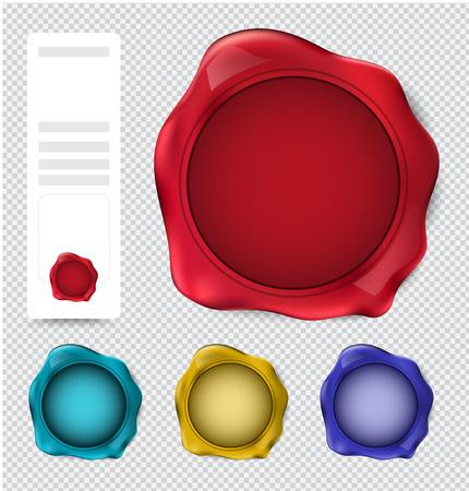 sellos: Colección de sello sello de cera. verificar sello conjunto. ilustración vectorial.