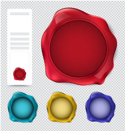 credentials: Collection of wax seal stamp. verify stamp set. vector illustration.