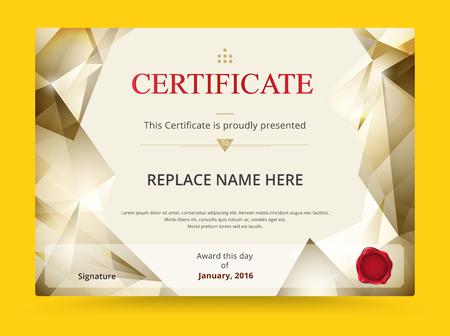 reconocimientos: Diploma Geometría de diseño plantilla de certificado con la escala de impresión internacional. ilustración vectorial.