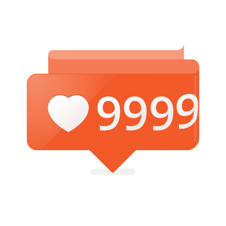 notification: Like Counter Notification Icon orange color.