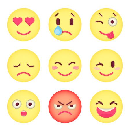 the facial expression: Set of flat emoticons Set of Emoji. Illustration