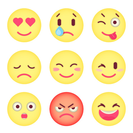 Set of flat emoticons Set of Emoji. Illustration