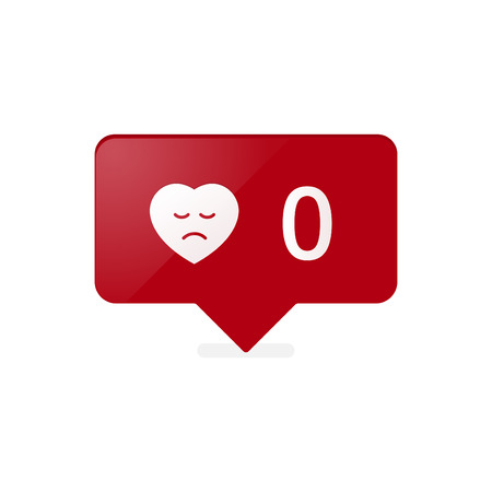 notification: Like Counter Notification Icon red color. Illustration