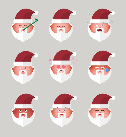 merry mood: Set of santa claus emoticons.