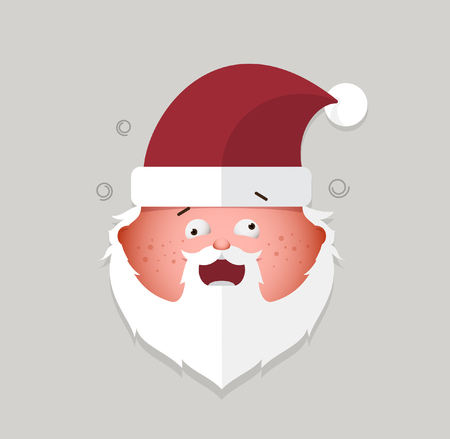 cheeky: Flat santa claus cheeky emoticon.