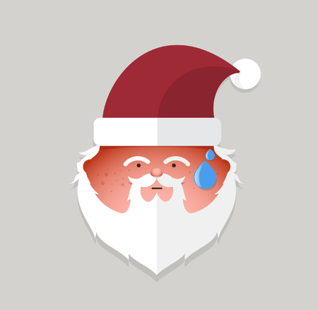 santa claus face: Flat santa claus tried emoticon.