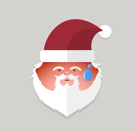 weihnachtsmann lustig: Wohnung Santa Claus versucht Emoticon.