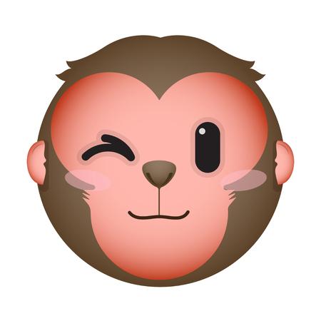 wink: Flat monkey eye wink emoticon.
