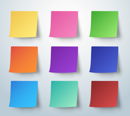 postit note: Colorful sticky note, Post-it. vector illustration.