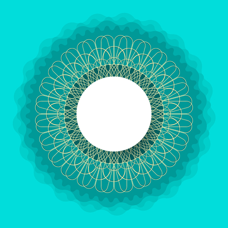 symmetrical: symmetrical circle. guilloche circle shape. vector illustration.