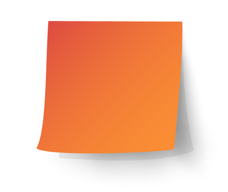 Orange sticky note, Post-it. vector illustration.