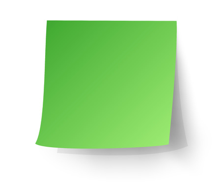 Green sticky note, Post-it. vector illustration.