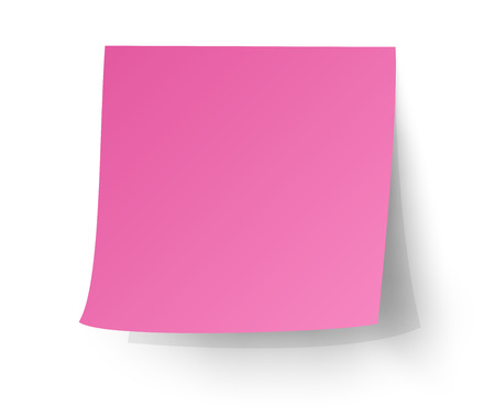 Pink sticky note, Post-it. vector illustration. Çizim