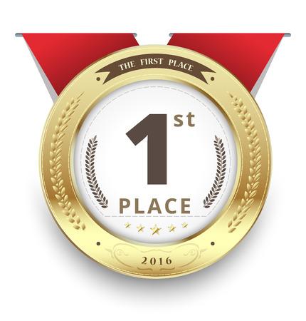primer lugar: medalla de oro para el primer lugar. ilustración vectorial. Vectores