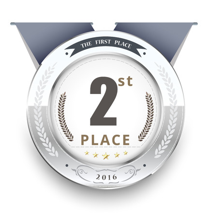 Silbermedaille für den ersten Platz. Vektor-Illustration Standard-Bild - 52883407