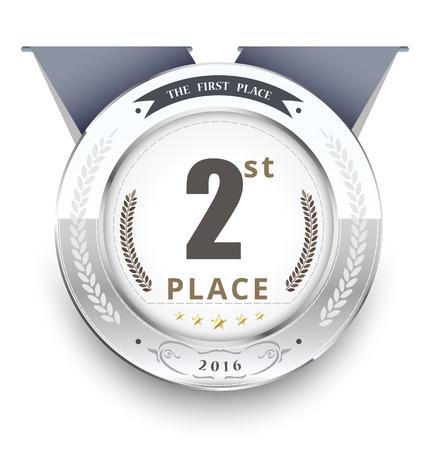 Zilveren medaille voor de eerste plaats. vector illustratie