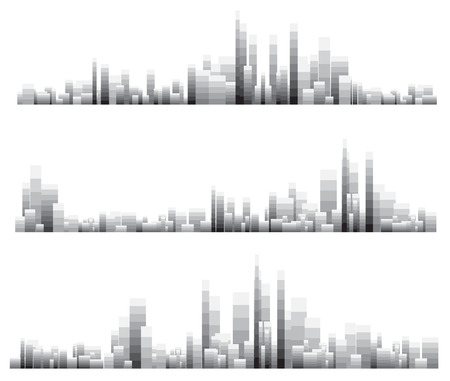 gray scale: over print cityscapes with gray scale pixel block. Illustration