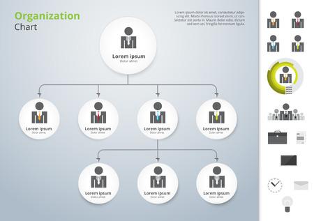 organigrama: Vector plantilla de la organización moderna y simple. ilustración vectorial.
