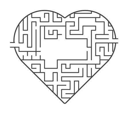 Hart doolhof illustratie. erachter te komen van de liefde concept. vector stock.