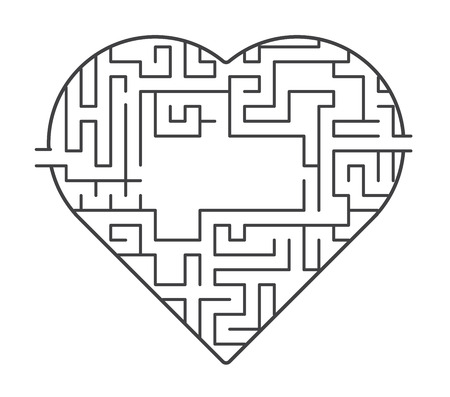 Heart maze illustration. find out of love concept. vector stock.