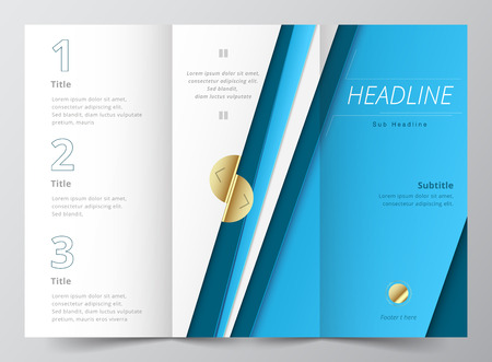 technologic: brochure design template vector tri-fold abstract blue color