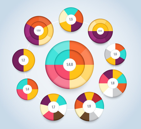 multi: Multi level pie chart template for presentation. vector illustration.