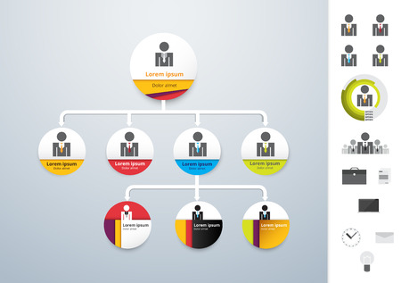 モダンでシンプルな組織図テンプレートのベクター。ベクトル図