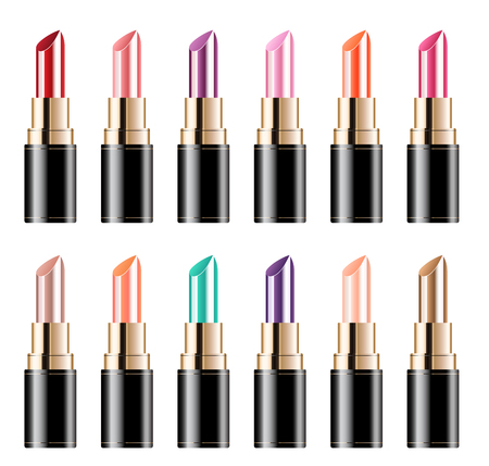 Collection of color lipstick on white background. vector illustration. Иллюстрация