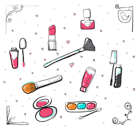 decorate: Hand drawn cosmetic icon. cosmetic element. cosmetic decorate element. vector illustration