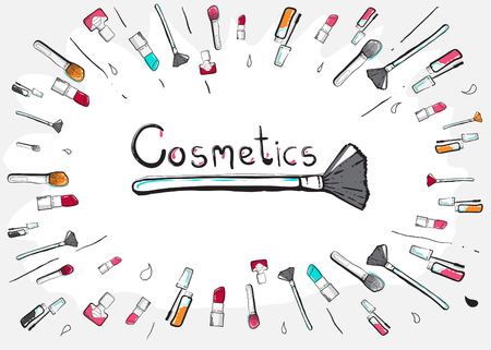 decorate element: Hand drawn cosmetic icon. cosmetic element. cosmetic decorate element. vector illustration