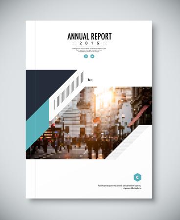 企業の年次報告書のテンプレート デザイン。企業のビジネス ドキュメントのデザイン。ベクトル イラスト。