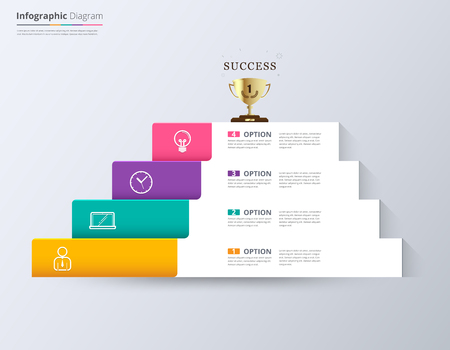 step up: Stair to success  infographic design template for replace text, stair diagram, stair step up diagram, vector stock. Illustration