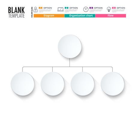 Diagram Template, Organization chart template. flow template, blank diagram for replace text, white color, Circle diagram, vector stock design. (blank)