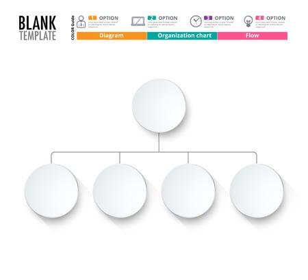 Diagrammvorlage, Organigramm-Vorlage. Flow-Vorlage, leeres Diagramm für Text, weißer Farbe, Kreis Diagramm, Vektor stock Design ersetzen. (leer) Standard-Bild - 58736317
