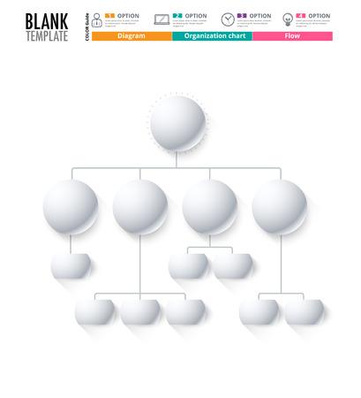 Diagrama de la plantilla, plantilla de la Organización. plantilla de flujo, diagrama en blanco para reemplazar el texto, color blanco, Diagrama del círculo, diseño del vector de valores. (blanco)